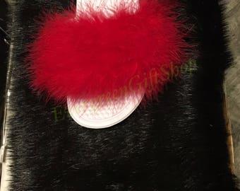 3d8d4871143bb Nike Fur Slides Glitter GOLD Bling Swoosh Mink Fur Black | Etsy