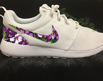 4f884b68b1b1f Nike Roshe Run Floral Custom Roshes PURPLE HIBISCUS Roshe Floral