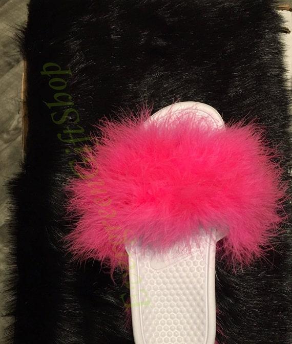 Nike Fur Slides WHITE Sandal PINK Fur Fuzzy Nike Sandals Fur  7631423c2