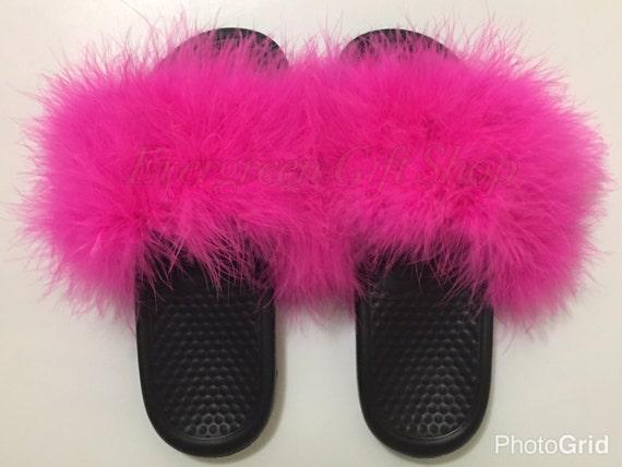 3fe4fde3d20d2 Furry Nike Slides | HOT PINK Custom Nike Flip Flops Nike Fur Sandals  Slipper Fur Flip Flop Fuzzy Nike Sandals Fur Slides Marabou Hot Pink