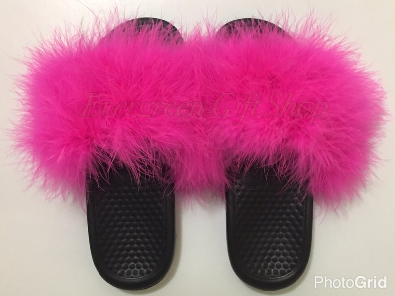 timeless design 0b9bc bfcb8 Furry Nike Slides | HOT PINK Custom Nike Flip Flops Nike Fur Sandals  Slipper Fur Flip Flop Fuzzy Nike Sandals Fur Slides Marabou Hot Pink