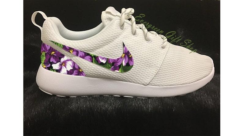 buy popular 97f29 ffb48 Nike Roshe Run Floral Custom Roshes PURPLE HIBISCUS Roshe   Etsy