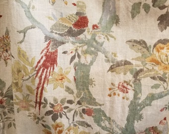 Aviary Woodland Curtians Drapery Panels Birds Floral Pattern