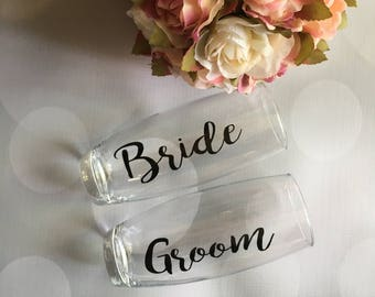 Bride and Groom Champagne Flutes, Bride and Groom Champagne Glasses, Stemless Champagne Flutes, Wedding Champagne Glasses, Wedding Champagne