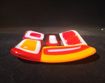 Fused glass mosaic dish