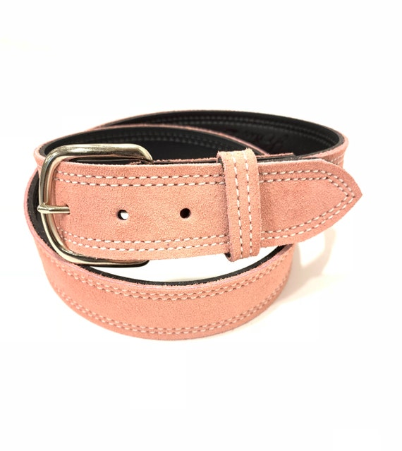 """LADIES WOMENS LEATHER BELTS REAL LEATHER 1.5/"""" WIDE BELTS IN FUSCHIA BLACK PINK"""
