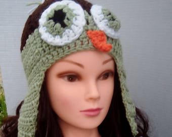 Crochet Owl Hat, Baby Owl Hat, Child Owl Hat, Adult Owl Hat.