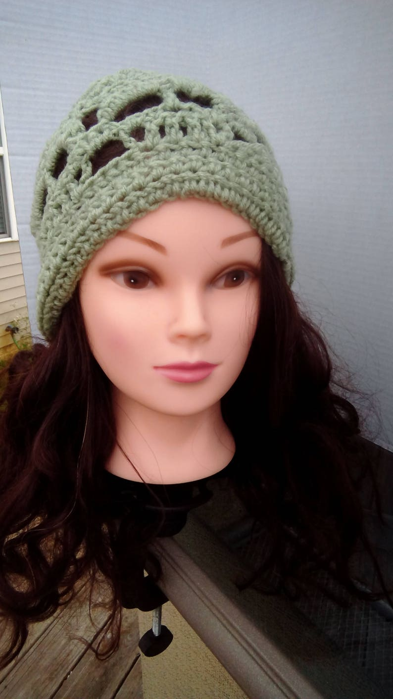 Crochet Skull Hat In Green Crochet Womens Skull Hat Etsy