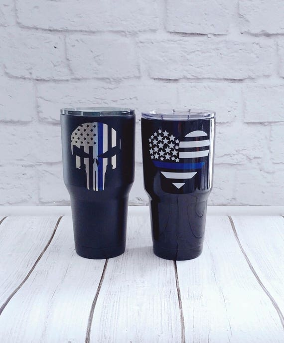 Thin Blue Line Pair Of Powder Coated Tumblers Law Enforcement Etsy