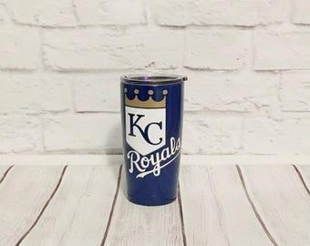 Kansas City Royals tumbler/Custom tumbler/Gift for Kansas fan/Personalized tumbler/Powder coated Kansas tumbler/Yeti style tumbler/Kansas