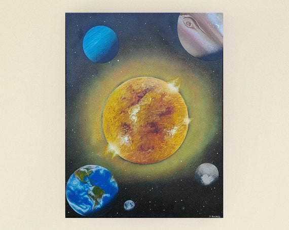 Solar System Painting - Sun Painting - Original Painting - Space Art - Space Painting - Planet Painting - Outer Space Art - Astronomy Art