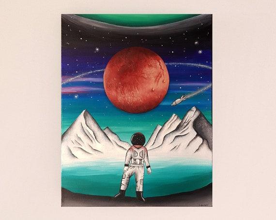 Astronaut Painting - Spaceman Painting - Original Painting - Space Art - Space Painting - Space Explorer - Outer Space Art - Astronomy Art