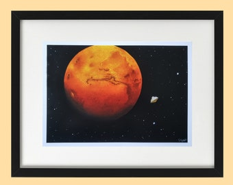 Mars Painting - Mars Print - Space Painting - Mars Rover - Mars Perseverance - Space Print - Outer Space - Planet Print - Astronomy Art