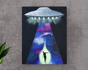 UFO Painting - Alien Painting - Original Painting - UFO Art - Space Painting - Sci Fi Painting - Spaceship Painting - Galaxy Painting