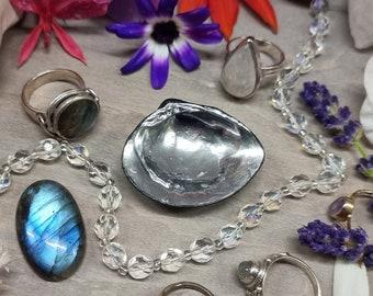 Seashell Ring Dish - Mirror Ring Dish - Celestial Ring Display - Engagement Ring Dish - Wedding Ring Dish - Seashell Decor - Celestial Decor