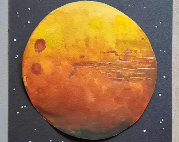 Mars Watercolour - Mars Painting - Celestial Art - Red Planet - Astronomy Art - Original Watercolour - Mars Rover - Space Painting