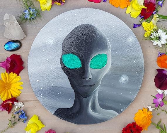 Alien Painting - Alien Art - Grey Alien - Original Painting - Colour Changing Art - Space Painting - Sci Fi Art - Outer Space Art