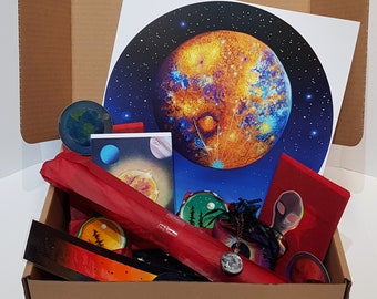 Space Bundle Box 3 - Space Gift Set - Christmas Gift Box - Space Art Gift Box - Astronomy Art - Art Gift Box - Space Painting - Planet Gift