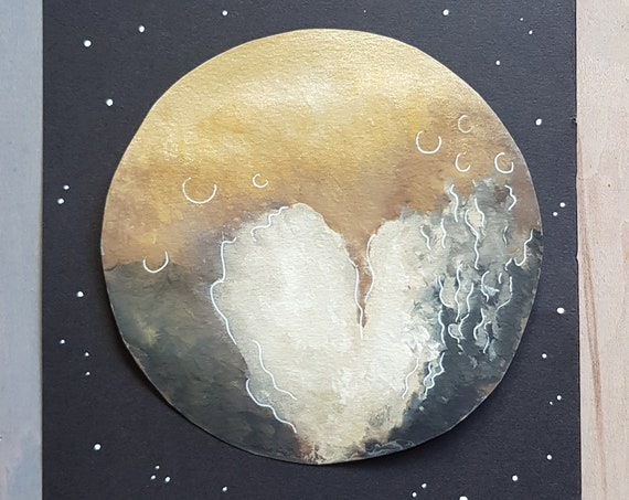 Pluto Watercolour - Pluto Painting - Celestial Art - Astronomy Art - Original Watercolour - Pluto Art - Space Painting