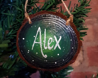 Personalised Decoration - Christmas Decoration - Log Slice Art - Rustic Decoration - Name Door Sign - Space Decor - Personalised Bauble