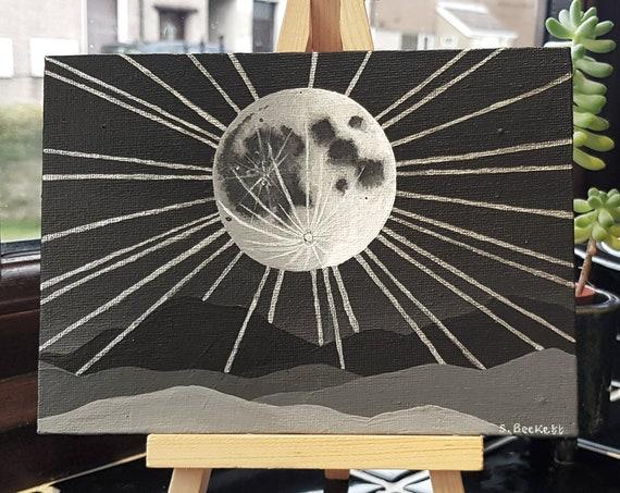 Moonbeams Painting - Space Painting - Moon Art - Moon Phase Art - Moon Painting - Original Painting - Night Sky Painting - Space Art