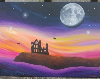 Whitby Abbey - original acrylic painting on canvas board