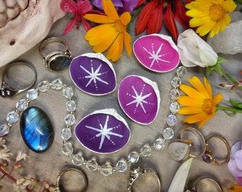Seashell Ring Dish - Purple Ring Dish - Celestial Ring Display - Engagement Ring Dish - Wedding Ring Dish - Seashell Decor - Celestial Decor