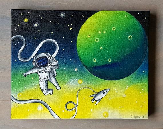 Astronaut Painting - Spaceman Painting - Original Painting - Space Painting - Sci Fi Painting - Spaceship Painting - Planet Painting