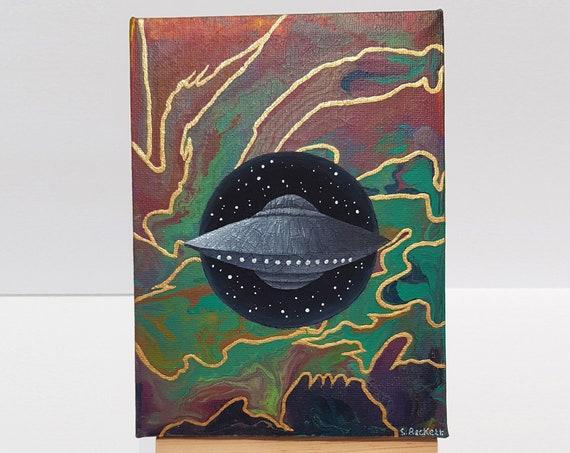UFO Painting - UFO Art - UFO Wormhole - Space Painting - Space Art - Galaxy Painting - Original Painting - Original Artwork - Canvas Art