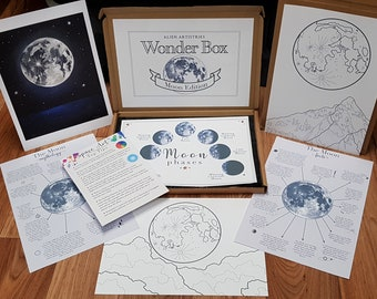 Moon Wonder Box - Learning Box - Activity Box - Moon Facts - Moon Art - Learning Pack - Space Painting - Space Facts - Colouring-in Sheets