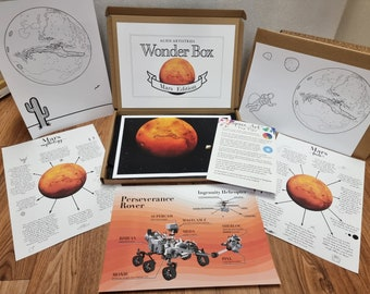 Mars Wonder Box - Learning Box - Activity Box - Mars Facts - Mars Art - Learning Pack - Space Painting - Space Facts - Colouring-in Sheets