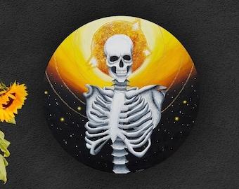 Skeleton Painting - Space Painting - Skeletal Art - Ribcage Painting - Skull Art - Sun Painting - Outer Space Art - Celestial Skeleton
