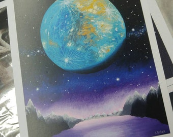 Blue Mercury - acrylic space painting print
