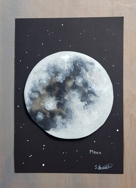 Moon Watercolour - Moon Painting - Celestial Art - Moon Phase Art - Astronomy Art - Original Watercolour - Lunar Art - Space Painting
