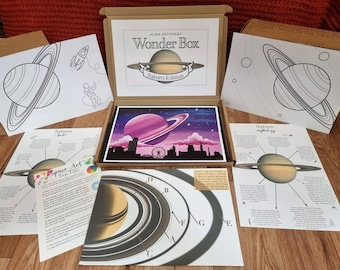 Saturn Wonder Box - Learning Box - Activity Box - Saturn Facts - Saturn Art - Space Painting - Space Facts - Colouring-in Sheets