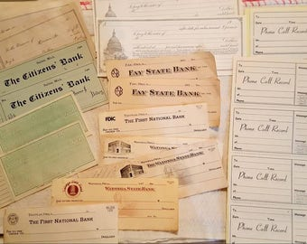 Beautiful vintage paper, old unused checks, old unused receipts, judgement notes and phone call record, old receipts, quantity 20