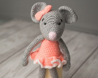 Knitted toy mouse,  crochet girls toys, knitted mouse, knitted toys animals, crochet toy mouse, knitted toys for kids, Soft girls toy