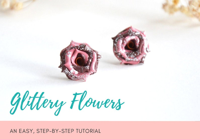 TUTORIAL: Glittery Flowers  Polymer Clay Earrings Step by image 0