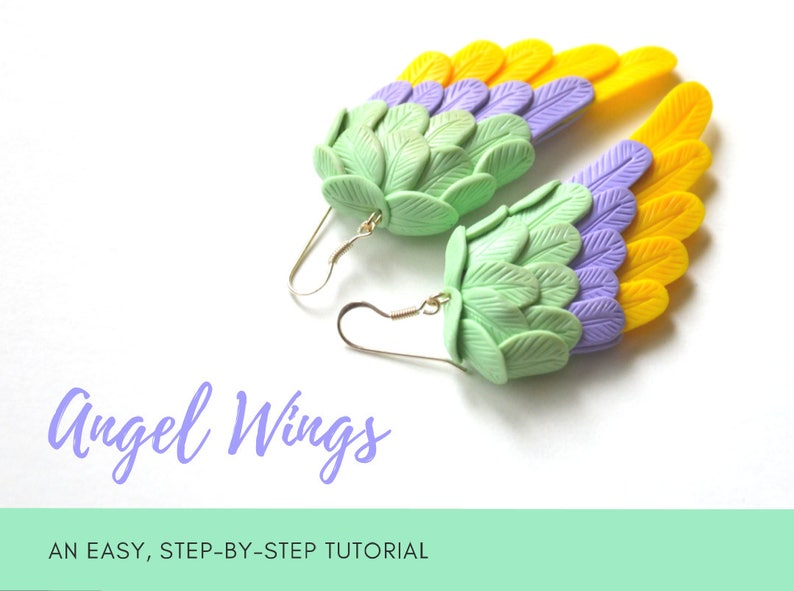 TUTORIAL: Angel Wings  Polymer Clay Earrings Step by Step image 0