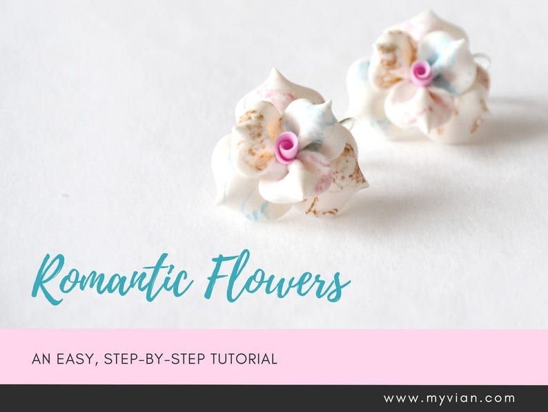 TUTORIAL: Romantic Flowers  Polymer Clay Earrings Step by image 0