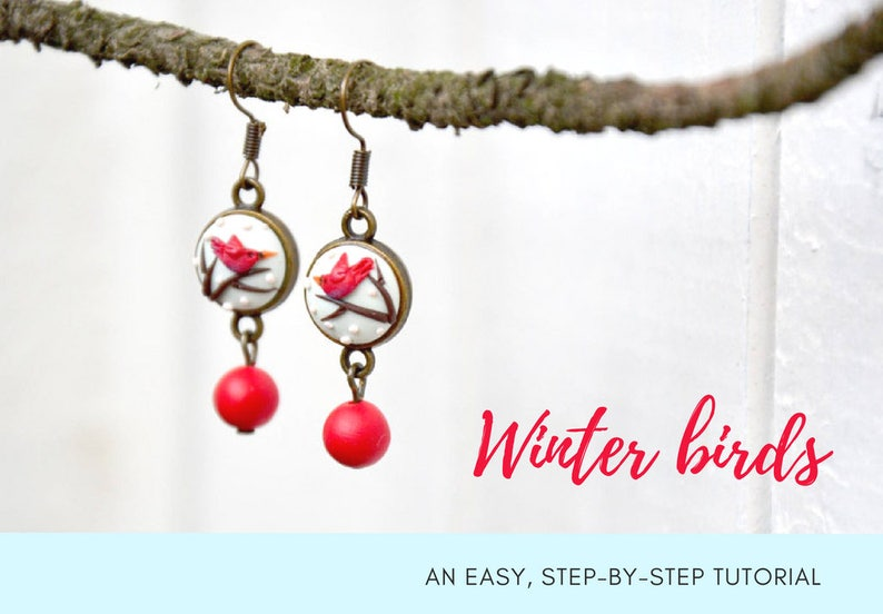 TUTORIAL: Winter birds  Polymer Clay Earrings Step by Step image 0