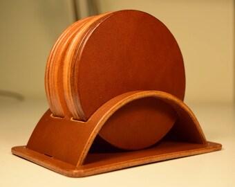 Leather Coaster Set, Leather coasters, personalised coasters, Set of 4