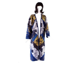 63cb2814 ViNTAGE: MELATO Long Patched Denim Gold Tiger Print Long Open Front Duster  Jacket - Denim Ethnic Jacket - Size Medium - SKU 23-00014680