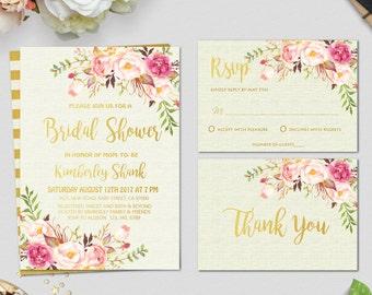 Bridal Shower Invitation, Bridal Shower Invitation Printable, Boho Bridal Shower Invitation, Gold Glitter Bridal Shower Invitation, DIY