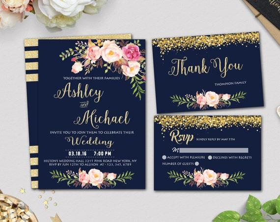 Wedding invitation designinvitationsbk gold wedding invitation template navy wedding invitation printable wedding invitation set stopboris Choice Image