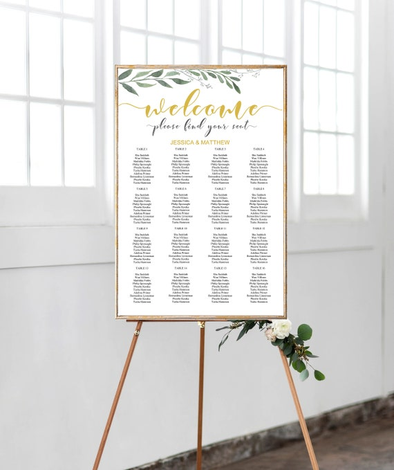 wedding seating chart template alphabetical wedding seating chart editable greenery gold seating
