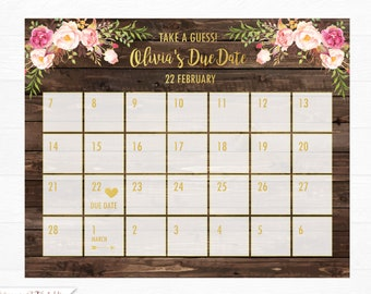 Guess baby birthday calendar, Baby Due Date Calendar, Guess the due date, Rustic Baby Shower Games, Baby predictions calendar