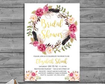 Boho Bridal Shower Invitation, Floral Bridal Shower Invitation, Printable Bridal Shower Invitation, Gold Bridal Shower Invitation