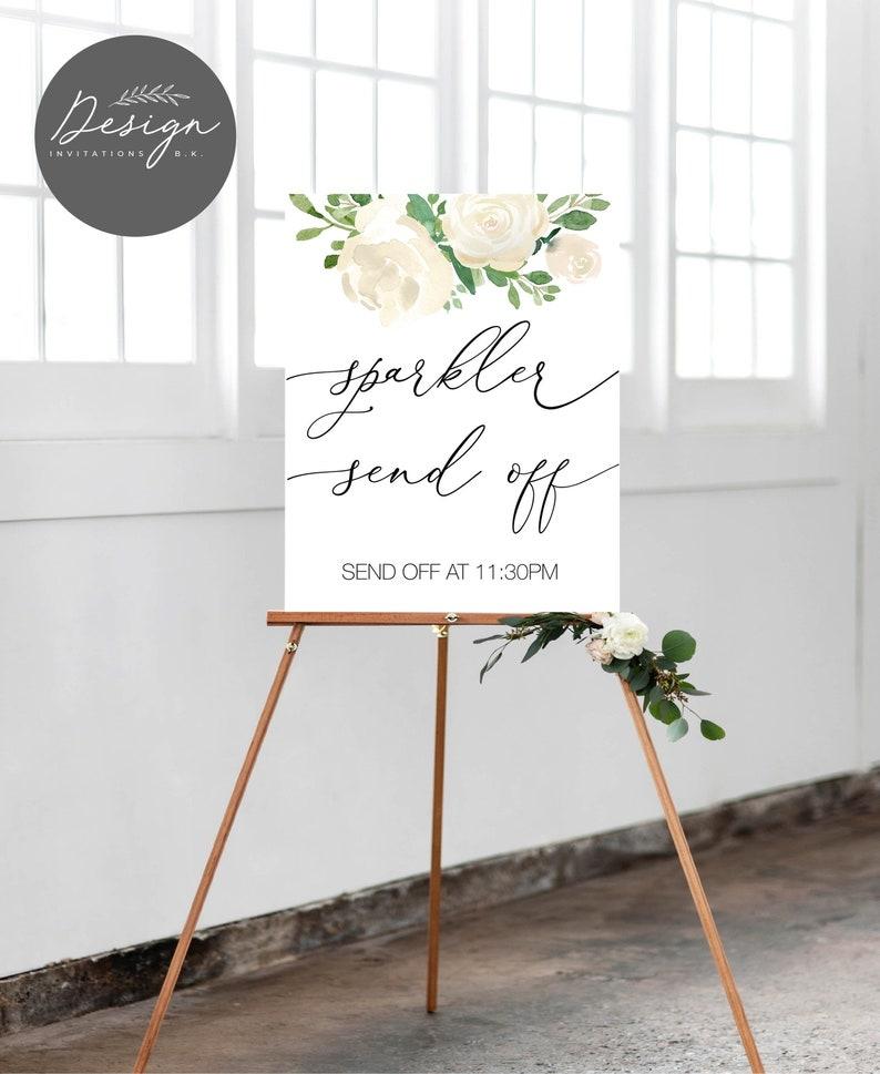 Reception Let Love Sparkle Signage Sparkler send off sign Send Off Light The Way Printable Wedding Sparkler Sign Cream Flowers  WS48