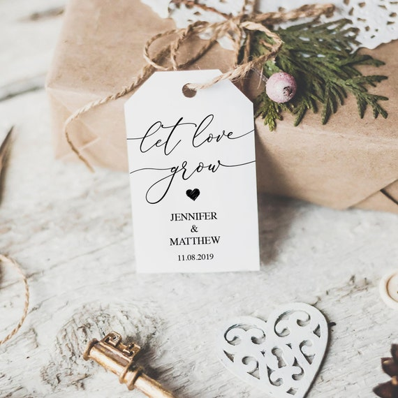 Eucalyptus Wedding Favor Tags FS-301-003 Let Love Grow Wedding Hang Tags